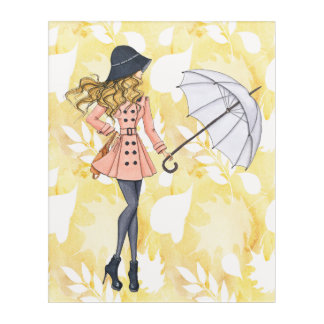 Girl With Umbrella Against Yellow Autumn Leaves Acrylic Wall Art