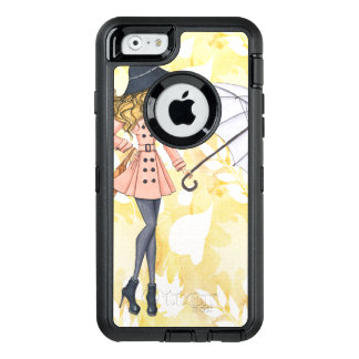 Girl With Umbrella Against Yellow Autumn Leaves OtterBox Defender iPhone Case