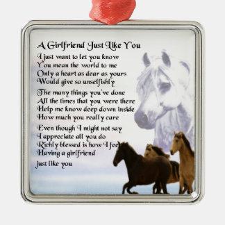 Girlfriend poem - Horses Design Christmas Ornament