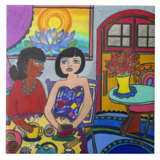 Girlfriends in a Cafe Tile
