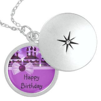 Girlie Bokeh Birthday Cake Gemstone Locket Necklace