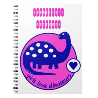 GIRLMPOWER BOLD PINK GIRL DINOSAUR CUSTOMIZED DINO NOTEBOOK