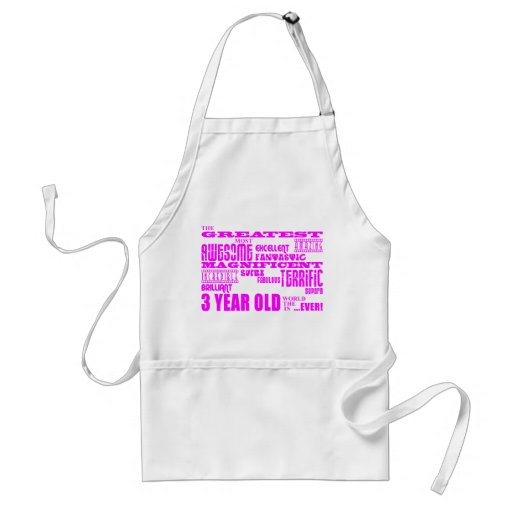 Girls 3rd Birthdays : Pink Greatest 3 Year Old Apron