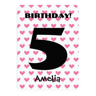 Girl's 5th Birthday Custom Name Modern W05 HEARTS 13 Cm X 18 Cm Invitation Card