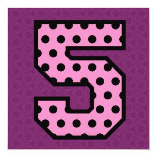 Girl's 5th Birthday Custom Name Polka Dots V14H Card