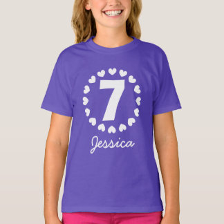 Girls 7th Birthday shirt | Age seven with hearts