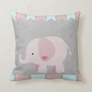 Girls & Baby Gray & Pink Elephant Pillow
