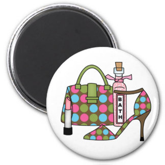 Girls Bags and Shoes Three 6 Cm Round Magnet