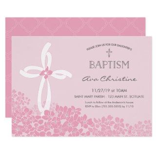 Girl's Baptism, Christening Invitation w/ Cross