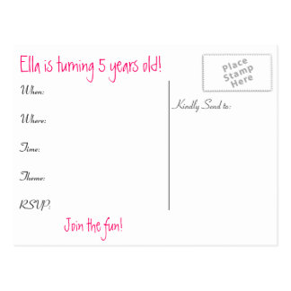 Girls Birthday Invite Post Card