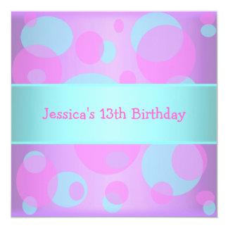 Girls Birthday Metallic Blue Purple Pink Circles 13 Cm X 13 Cm Square Invitation Card