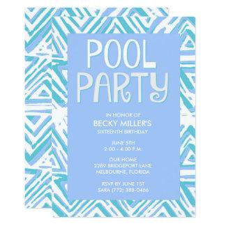 Girl's Blue Pool Party Summer Birthday 13 Cm X 18 Cm Invitation Card