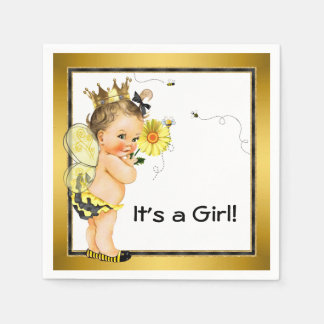 Girls Bumble Bee Baby Shower Paper Serviettes