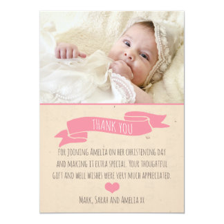 Girls Christening/Baptism Thank You card