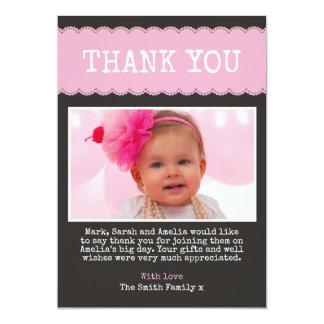 Girls Christening Thank You Card