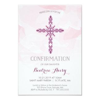 Girl's Confirmation Invitation, Cross & Watercolor Card