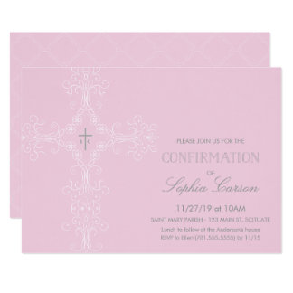 Girl's Confirmation Invitation with Elegant Cross