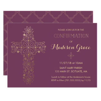 Girl's Confirmation Invitation with Gold Cross