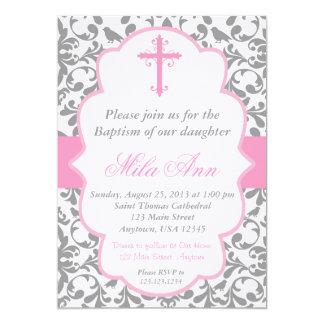 Girls Damask Baptism Pink and Grey Invitation
