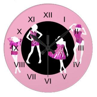 Girls fashion models girly pink large clock