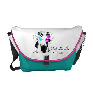 Girls fashion models trendy pink aqua courier bags