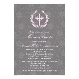 Girl's First Comunion Invitation with Cross