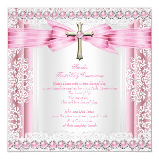 Girls First Holy Communion Cross Pretty Pink White Card