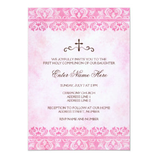 Girls first holy communion invitation vintage pink