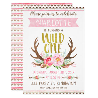 Girls Floral Alntlers Wild One Birthday Invitation