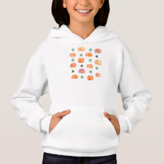 Girl's hoodie with pumpkins and leaves