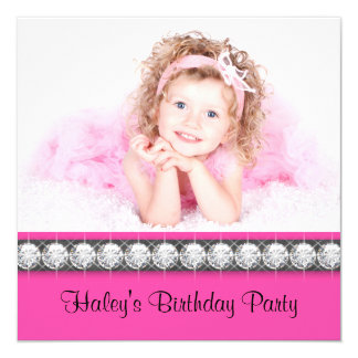 """Girls Hot Pink Birthday Party 5.25"""" Square Invitation Card"""