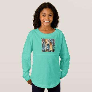 Girls jersey spirit tshirt : Cyan