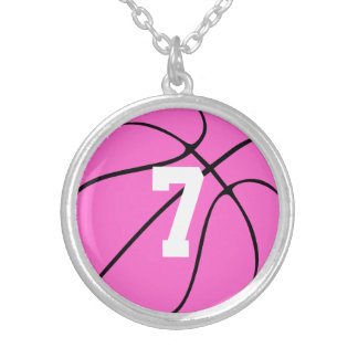 Girls Pink Basketball Player Jersey Number/Initial Silver Plated Necklace