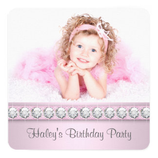 """Girls Pink Photo Birthday Party 5.25"""" Square Invitation Card"""