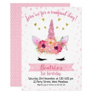 Girls Pink Unicorn Face Birthday Invitation