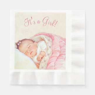 Girls Pink Vintage Baby Shower Disposable Napkins