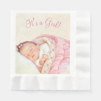 Girls Pink Vintage Baby Shower Disposable Serviette