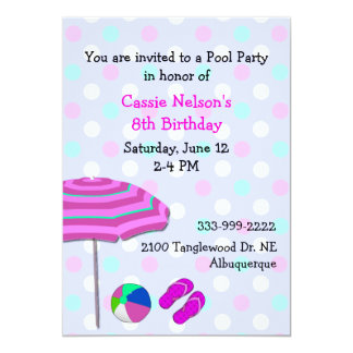 Girl's Pool Party Birthday Invitation