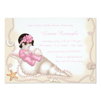 Girls Seashell Baby Shower Card