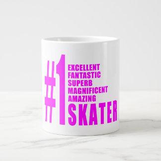 Girls Skating Skaters : Pink Number One Skater Jumbo Mug