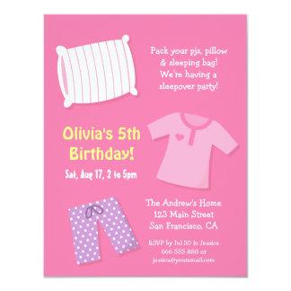 Girls Sleepover Slumber Birthday Party Invitations