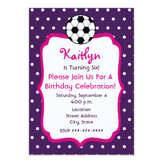 Girls Soccer Birthday Invite- Purple With Pink Card