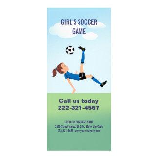 Girl's Soccer Player Personalized Custom Rack Card