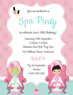 Day Spa Party Invitations Announcements Zazzle Nz