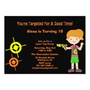 Girls Target Laser Tag Birthday Party Invitation