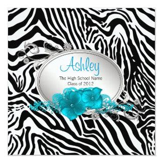 Girls Teal Blue Zebra Graduation Announcements