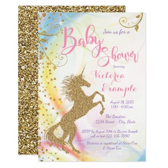 Girls unicorn baby shower invitations zazzle girls unicorn baby shower invitations filmwisefo