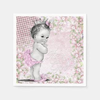 Girls Vintage Baby Shower Paper Napkin