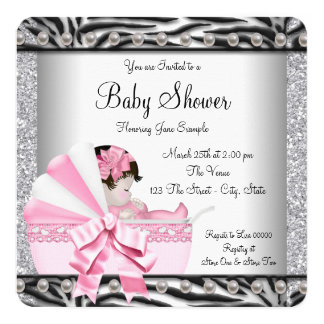 Girls Zebra Baby Shower Card