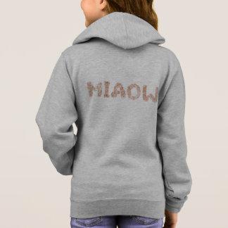 Girl's zip hoodie with 'miaow'